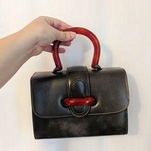 Vintage Black Leather Lucite Handle Purse